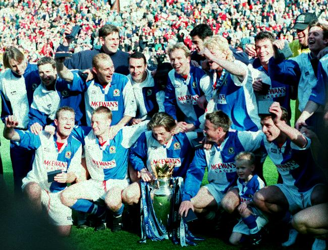 Rovers celebrate their  league title win in 1994/95