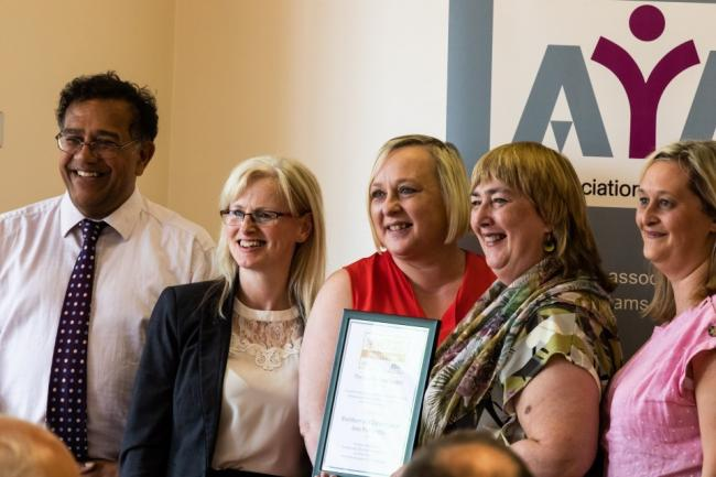 Receiving the award are (left to right) Julie Jackson, Statutory Assessment Team Manager, Elaine Hyslop, YJS Policy, System and Support Officer, Glenda Astley, Area Team Manager for YJS, Claire Barker, ELCAS YJS/Mental Health Nurse.