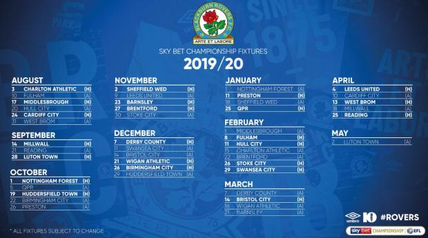 Blackburn Rovers Championship fixtures for 2019/20 season