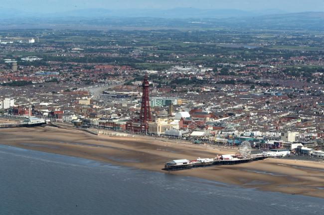 An aerial view of Blackpool Tower and beach