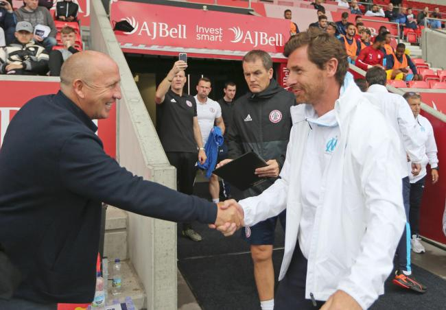 John Coleman shakes hands with Marseille manager Andre Villas Boas before Thursday's match Picture: KIPAX
