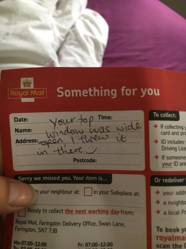 The amusing Royal Mail notification recieved by Laura Picture: LAURA CHAISTY