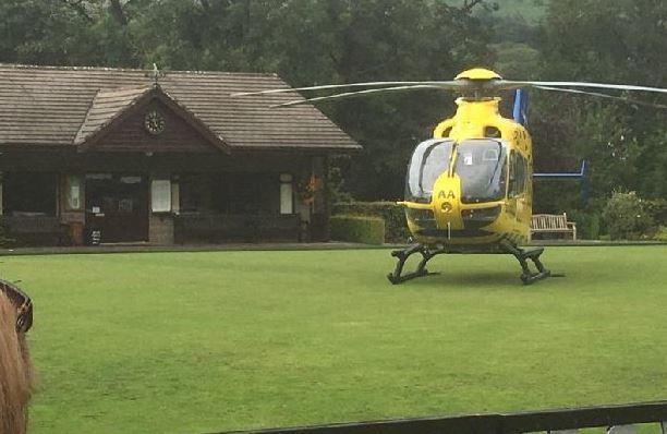 Air ambulance lands at Sabden Bowling Club after 12 year old falls from tree
