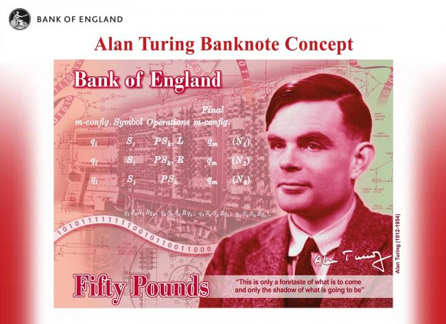 The new Fifty Pound featuring Second World War code-breaker Alan Turing. Pic credit: Bank of England/PA Wire