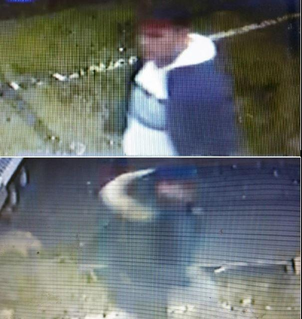 CCTV images from the property - police want to speak with the two men pictured