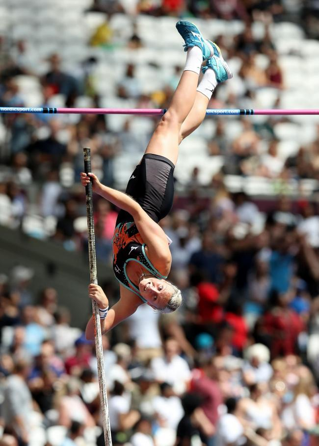 Holly Bradshaw in action in the Women's Pole Vault during day one of the Anniversary Games at the London Stadium