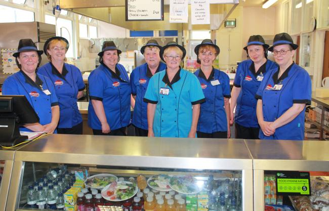 Catering Manager Diane Longstaff with the catering team at Whitworth Community High School.