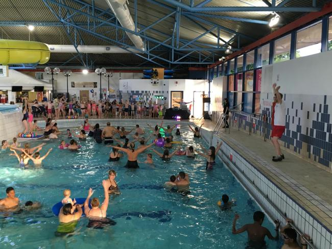 Swimmers enjoying an aqua aerobics class to celebrate Pendle Wavelengths 30th Anniversary