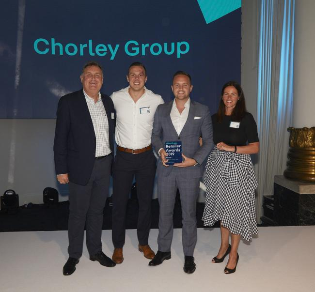 James Hayes, Chorley Group's digital stock manager, and Adam Turner, sales and marketing director, with awards presenters