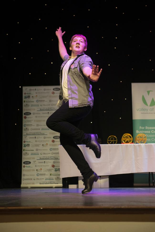 Sam Hughes performs at Rossendale Business Awards. Pic: Liz Henson