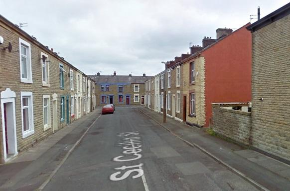 Google map view of St Cecilia Street, in Great Harwood