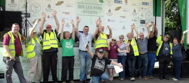 The Friends of Roe Lee Park celebrate being awarded a grant of £8,000 for the East meets West project in 2016