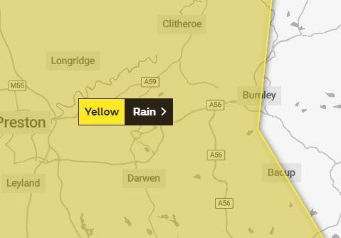 Yellow weather warning for rain in East Lancashire 2
