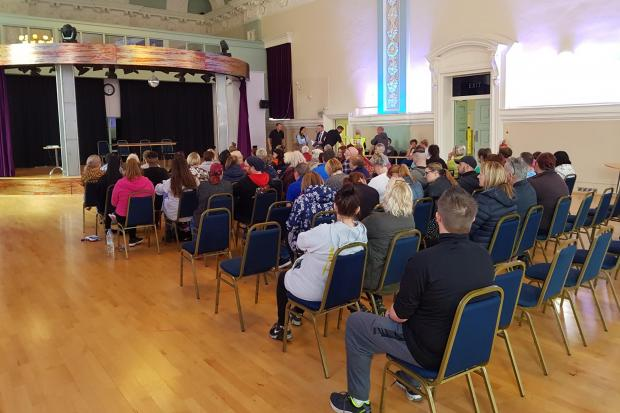 People gather at Accrington Town Hall to discuss the investigation into missing Lindsay Birbeck