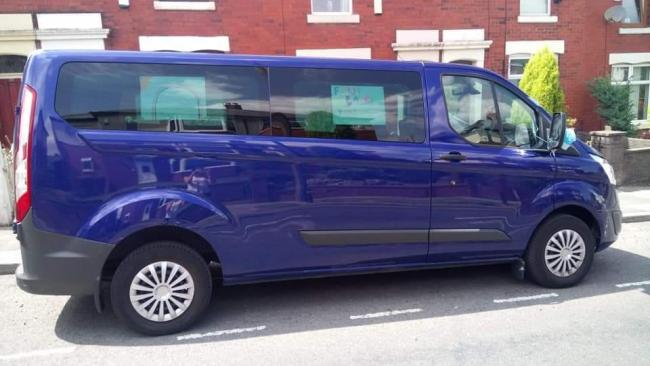 The stolen blue Transit passenger van which contains the wheelchairs
