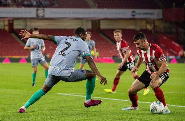 Ryan Nyambe in action for Rovers at Sheffield United
