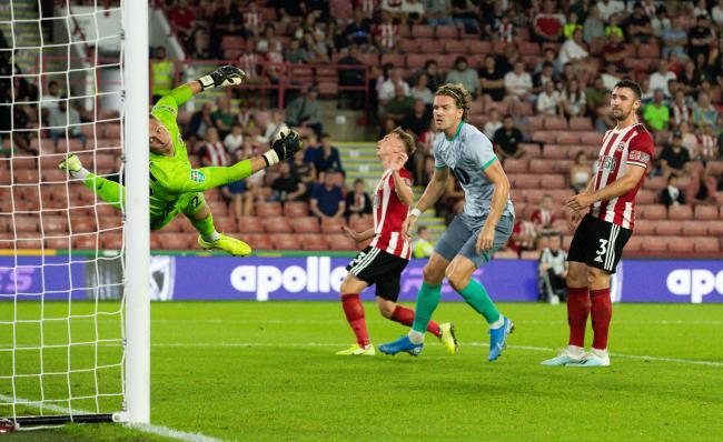 Sam Gallagher opened his account in the Carabao Cup defeat at Sheffield United