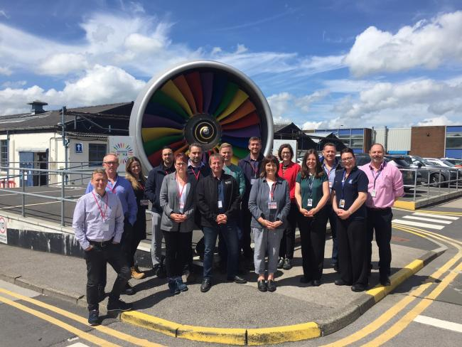 Members of the latest Productivity Through People (PtP) cohort at Lancaster University Management School who visited the Rolls-Royce factory in Barnoldswick as part of their 12-month programme.