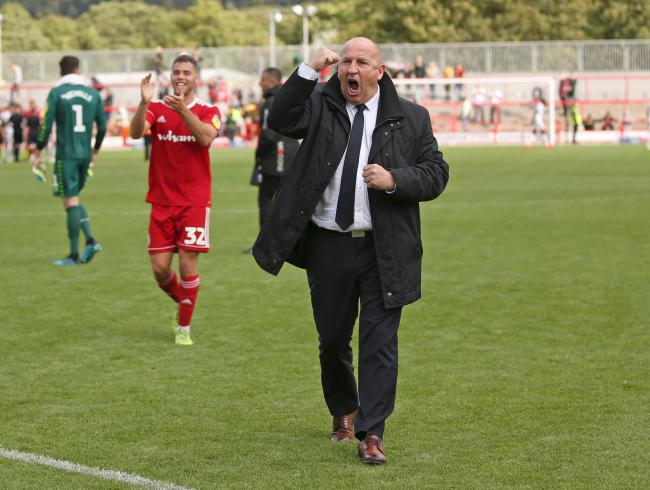 Stanley boss John Coleman celebrates the win over MK Dons. Pic: KIPAX