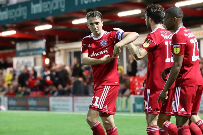 Sean McConville celebrates putting Stanley two goals in front in the win against Fleetwood Town. Picture: www.kipax.com