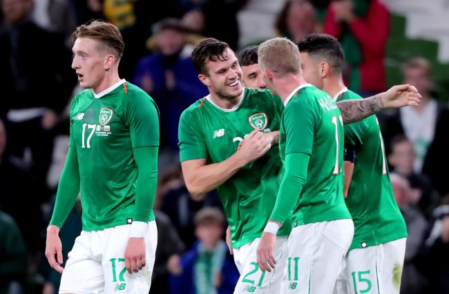 Republic of Ireland's Kevin Long (centre) celebrates scoring his side's second goal of the game with his team mates during the International Friendly at the Aviva Stadium, Dublin.