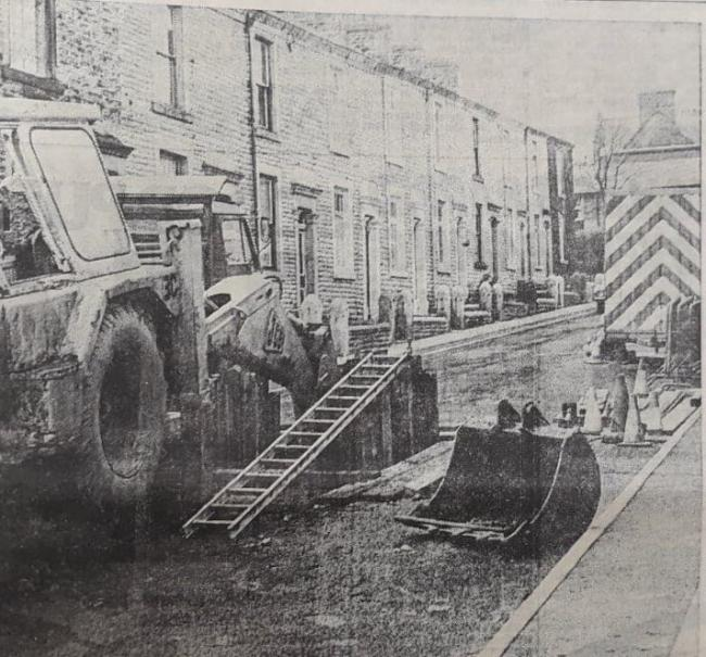 The collapsed sewer in Darwen in 1979