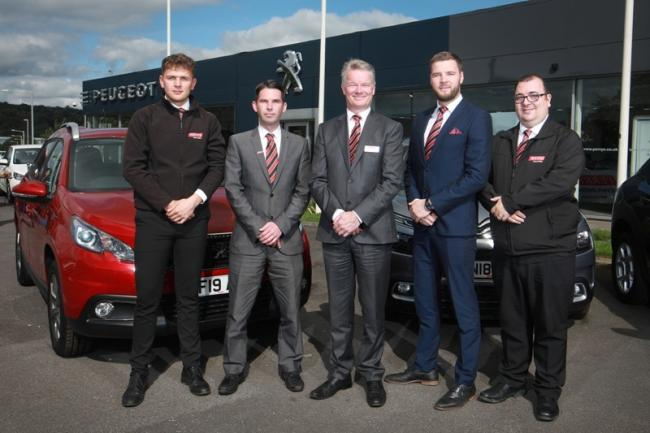 Sales executive Alex Birtwistle, sales manager Lee Parkinson, general manager Mark Leighton, business manager Joe Haley and sales executive James Cummings at the launch