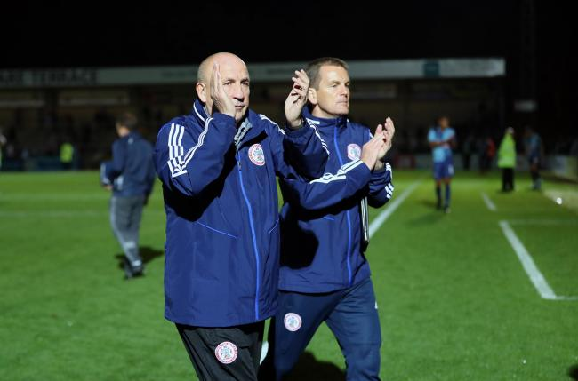 John Coleman applauds the travelling fans after Stanley's draw at Wycombe. PIC: KIPAX
