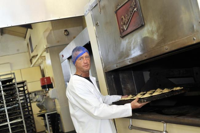 Baker Anthony Higgins at Sandersons Confectioners in Blackburn