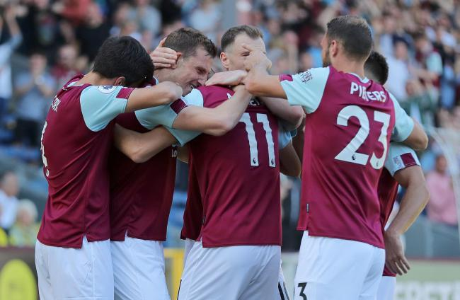 Burnley celebrate Chris Wood's second goal