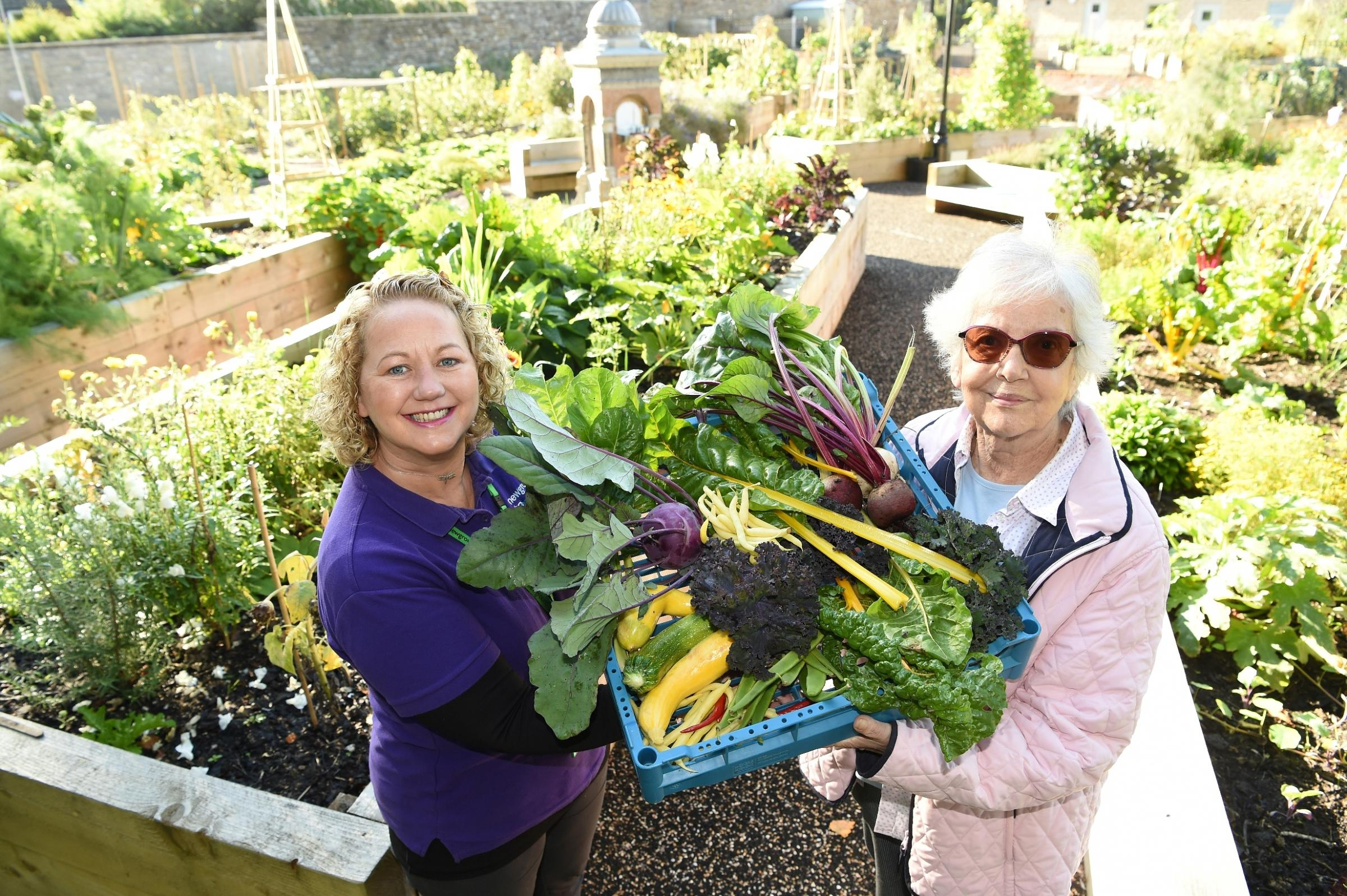 Newground at Rhyddings Park Volunteer Engagement Officer, Joanne Shaw and Nancy Hindle, Union Road Community Food Bank