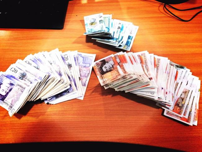 £2.5k was found in cash in the vehicle