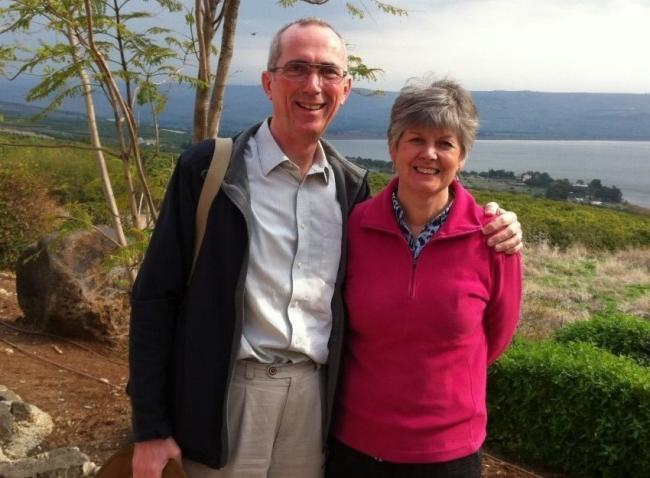 Archdeacon Mark and his wife Gill are pictured at the Sea of Galilee on a previous trip to the Holy Land.