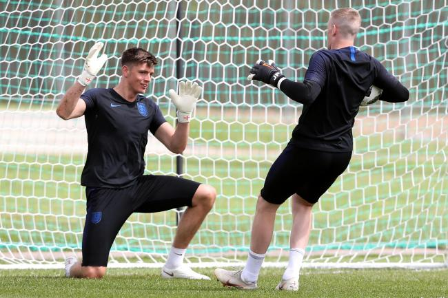 Nick Pope in England training with Jordan Pickford