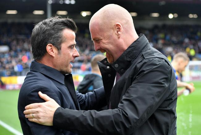Sean Dyche with Everton boss Marco Silva