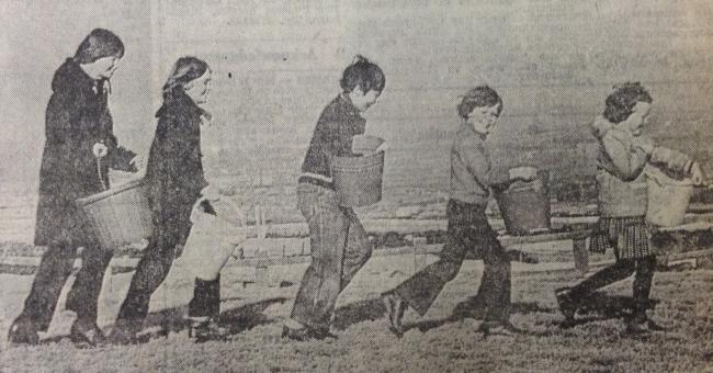 Kids from Belthorn going out in search of water in February 1979