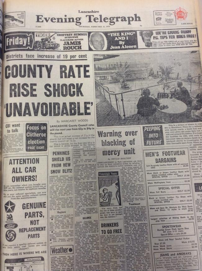 Front page in February 1979 showing rates increasing
