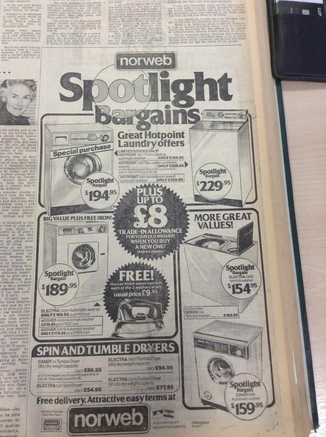 The advert from February 1979 for laundy