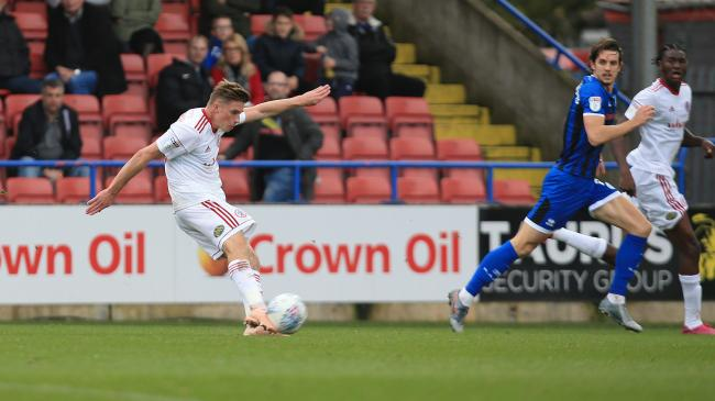 Joe Pritchard scores his stunning goal against Accrington Stanley. Picture: KIPAX