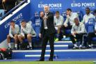 Burnley manager Sean Dyche gestures on the touchline at Leicester City