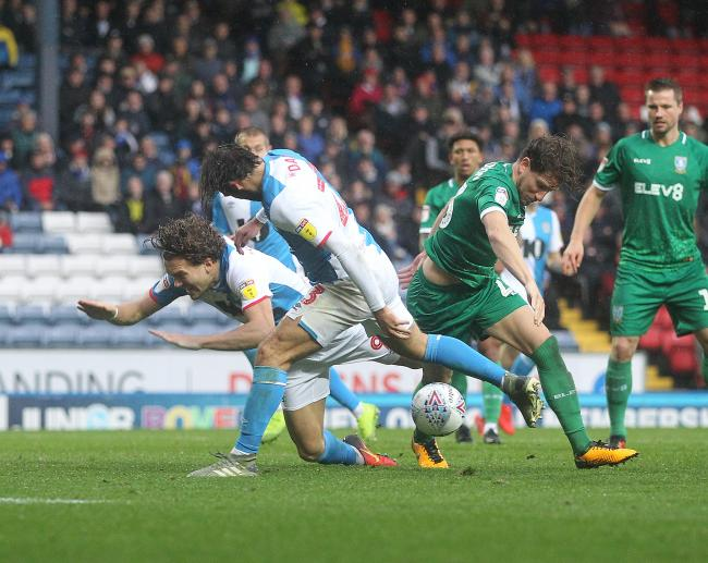 Sam Gallagher appeals for a penalty in Rovers' win over Sheffield Wednesday