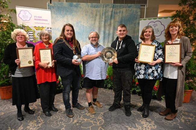 Barnoldswick in Bloom members with their awards