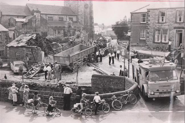 Scene of lorry crash in Waddington in August 1979