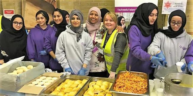 Tauheedul Islam Girls' High School  pupils pictured helping out in the community last Christmas