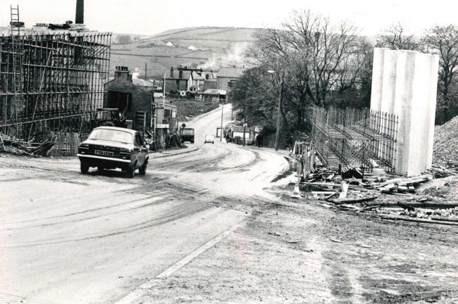Bridgeworks on the Grane Road in 1981 for the creation of the Haslingden bypass