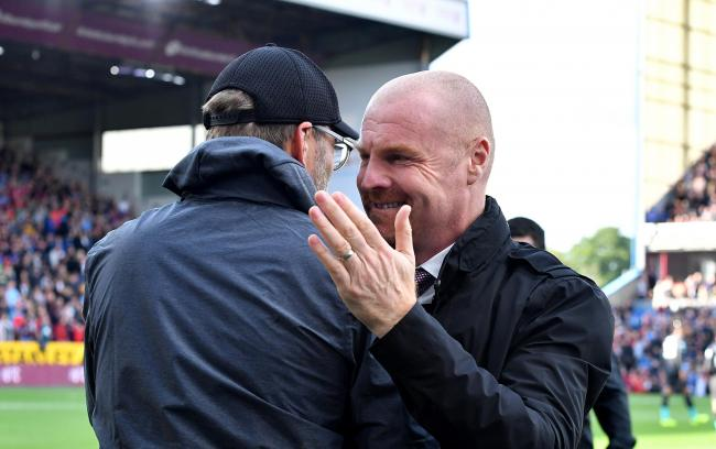 Sean Dyche greets Jurgen Klopp ahead of the reverse fixture at Turf Moor back in August