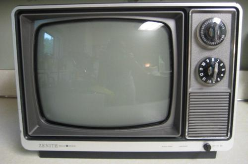 a black and white television set..B&W tv.