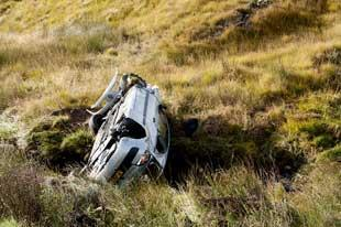 A Renault Megane which left the road and landed down an embankment