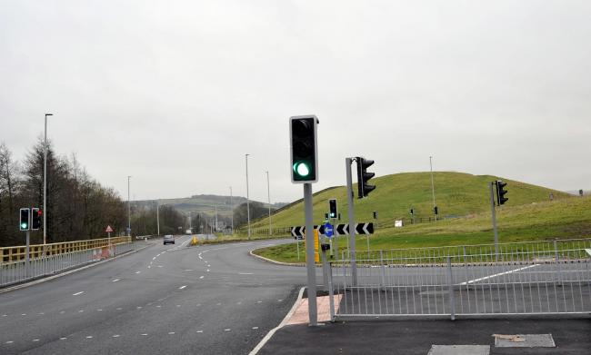 The new traffic lights on the Rising Bridge roundabout on the A56.......Jade Doherty 30-01-17.