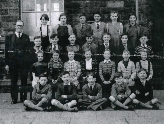 Western School, Stacksteads, 1954, Barry is in the middle of the first row